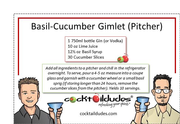 Basil-Cucumber Gimlet (Pitcher) | cocktaildudes